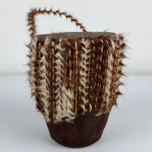 VINTAGE Animal Hide Small African Drum with Loop